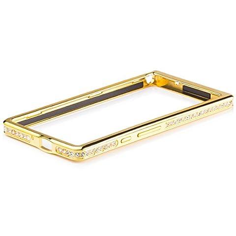 iCues Huawei Ascend P6 | Alu Strass Bumper Gold | [Display Schutzfolie Inklusive] Strass Glitzer Glitter Luxus Bling Damen Frauen Mädchen Chrome CNC Aluminium Metall Metallic Schutzhülle Hülle Cover Schutz