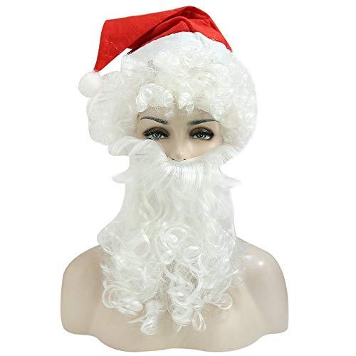 Carry stone Urlaub komplette Santa Weihnachten lockige Perücke Bart Hut Set Bekleidungszubehör Phantasie weiß langlebig und praktisch