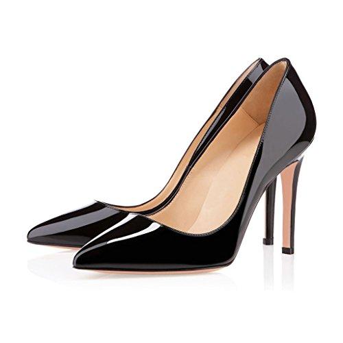 EDEFS Klassische Damenschuhe Pumps Stiletto 10cm Absatzhöhe Slip On Geschlossen Schuhe Black