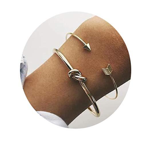 Gnzoe Donna Bracciali con targhetta, Bracciali Link Freccia Nodo Stile 4