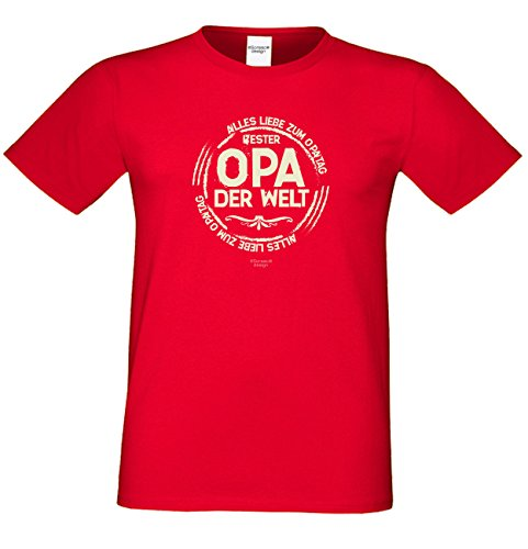 Bester Opa der Welt Geschenk Vatertag Sprüche Fun T-Shirt & Flaschenshirt Farbe: rot Rot