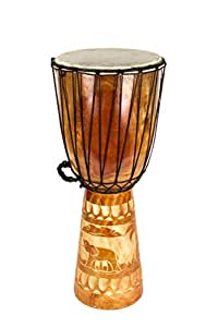 60 Cm housse pour bongo drum djembé motif éléphant en bois sculpté motif éléphant d'afrique