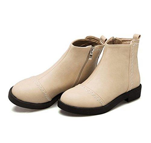 WZG Martin Stiefel Zustrom von weiblichen kurzen Frühlingsschuhe Xia Jiping mit Duantong Stiefel mit flachen Schuhen britischen Rohöl apricot