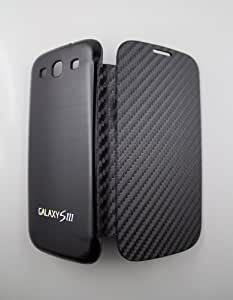 Samsung Galaxy S3 i9300 Hülle Flip Cover Display Schutzhülle Backcover VESTIX Schutz Etui Cover Akkudeckel Hülle Carbon schwarz Aluminium schwarz Tasche