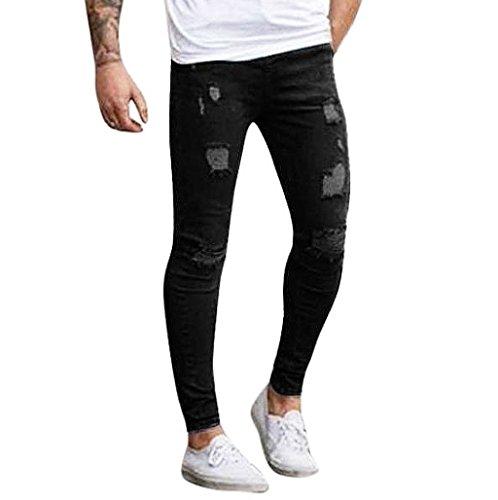 Sannysis rotti jeans lunghi degli uomini dei jeans hippy harem pantaloni sportivi tasca sottile pantaloni skinny fit rastremati i jeans per gli uomini (negro, M)
