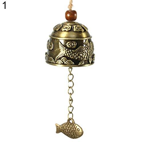 Poisson Dragon Chinois Feng Shui Bell bénédiction Bonne Chance Fortune à suspendre Carillon avec Alliage antique cloches pour jardin, terrasse, balcon, intérieur, décoration de maison, Alliage, Fish#, Taille M