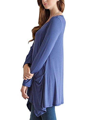 Détendu Femme manche longue Swings Robes Bleu Violet