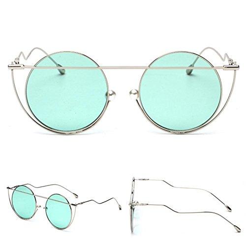 Z&YQ Sonnenbrillen Männer und Frauen Mode Europa und den Vereinigten Staaten Retro einzigartige Sonnenbrillen, Silver Frame Mint Green c37
