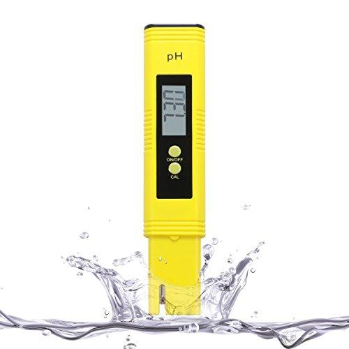 ABREOME pH Messgerät Digital Meter mit ATC für das Aquarium, pH Tester für Urin und Pool - pH Wert Messgerät Messbereich 0.00-14.00 pH, Gelb