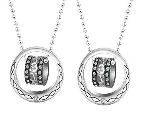 Daesar Sie & Sie Kette-Set Paare Anhänger Halskette Edelstahl Passende Liebe Ringe Herz Zirkonia