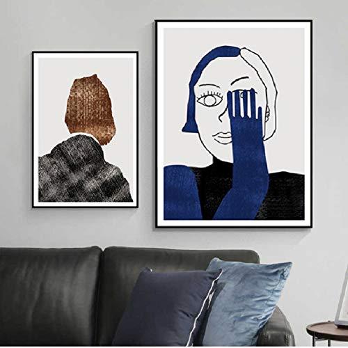 XWArtpic Abstrakte Figur Porträt Geometrische Wandkunst Leinwand Malerei Poster und Drucke POP Bilder für Wohnzimmer Haus Innendekoration X 2 stücke