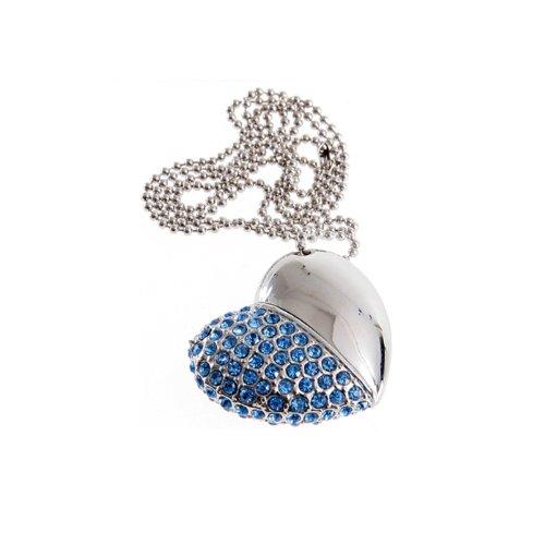 Vovomart - chiavetta usb a forma di collanina con cuore, con diamanti finti, 16 gb