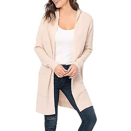 iHENGH Damen Kardigan Top,Ladies Fashion Lange ÄRmel Strickjacke Solid Pocket Cardigan Coat Tops Sweater Gestrickte Kapuzenmantel Outwear Jacke Mantel (EU-40/CN-S,Rosa) -
