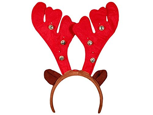 Alsino Cerchietto Natalizio Corno di Renna Rosso e Orecchi con Campanelli e Luci LED (wm-20) Marrone Accessorio per Natale Taglia Unica per Bambini Adulti Ragazzi