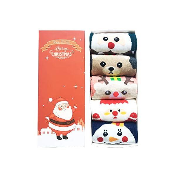 LIKERAINY Ragazze Donna Calzini Cotone Modello Animale del Fumetto di Natale 3D Calza Caldo Babbo Natale e Alce 5 Paia 2 spesavip