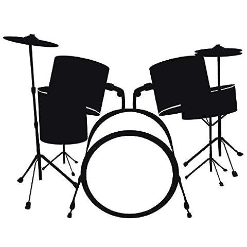Wadeco Schlagzeug Wandtattoo Wandsticker Wandaufkleber 35 Farben verschiedene Größen, 34cm x 26cm, orange