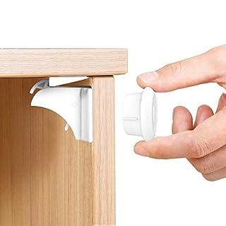 CALISH Child Safety Cupboard Locks Set 10 Locks+2 Keys Magnetic Locks No Drilling Magnetic Adhesive Lock for Drawers, Cabinet (White) …