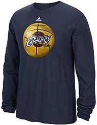 "Cleveland Cavaliers Adidas NBA ""Logo Ball"" Premium Print L/S Men's T-Shirt Chemise"