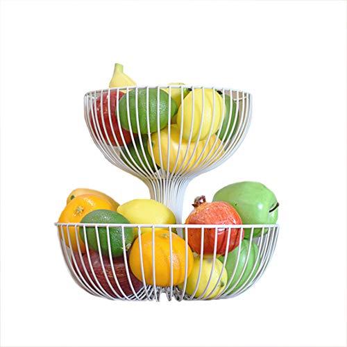 KEOA Obst Etagere 2 stöckig, Obstschale Metall für Mehr Platz auf der Arbeitsplatte dekorativer Obstkorb,schwarz,Weiß,White,M (Weiße Dekorative Etagere)