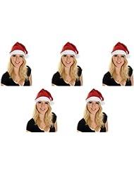 5 er Set Weihnachtsmütze Nikolausmütze Rot Uni Schlicht einfach Mütze Weihnachtsmarkt X36