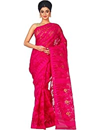 Tjsarees Reshom Dhakai Jamdani Saree (Tj500049_Pink_Free Size)