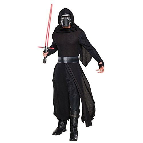 Star Wars 7 Kostüm Herren Kylo Ren deluxe 4-tlg Robe Kapuze Maske Gürtel schwarz - XL (Star Kapuzen-robe Wars)
