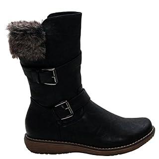 A&H Footwear Womens Ladies Fur Fleece Lined Warm Flat Zip Up Winter Snow Black Mid Calf Ankle Boots Shoes Sizes UK 3-8 (UK 5, Black)