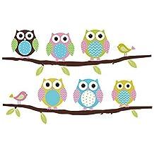 FiveRen Decalques de pared Coloridos Seis Adorables Owls Stickers Papel Extraíble Hogar Salón Comedor Dormitorio Cocina Decoración Arte Murales DIY Stick Niñas Niños Niños Infantil Baby Playroom Dormitorio Decoración
