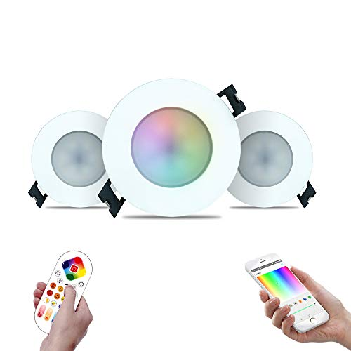 iHomma Downlight LED Empotrable Redondo,Dimmable Luz Blanca Fría+Cálida(2700~6500K) RGB Multicolores,Bluetooth Control,Mando a...