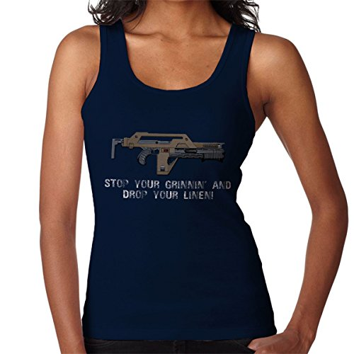 Stop Your Grinnin Drop Your Linen Aliens Women's Vest Navy Blue