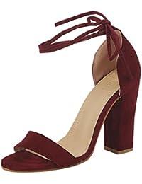 f8e49809 PAOLIAN Zapatos de tacón Ancho Altas para Mujer Verano 2018 Moda Bar  Clásicos Terciopelo Sólido Talla Grande Zapatos Cruz de Cordones…