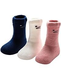 DEBAIJIA Baby Tube Socken Dicke Warm 0-36 Monate Jungen Mädchen Neugeborene Baumwolle Söckchen Set 3er Pack