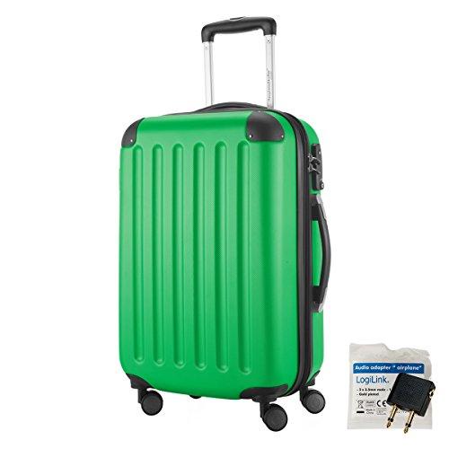 HAUPTSTADTKOFFER® 49 Liter Handgepäck · SPREE · TSA · MATT · NEU 4 Doppel-Rollen · (in 12 Farben) + LogiLink® Flugzeug Audio Adapter (Cyan Blau) Apfelgrün