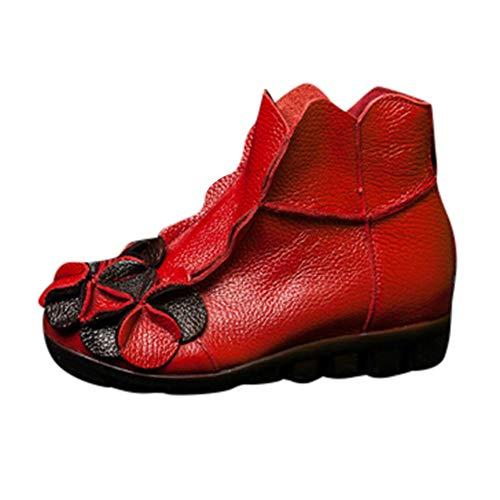 MYMYG Ankle Boot Winterschuhe Frauen handgenähte Blumen Schuhe ethnischen Stil Stiefel Leder Casual Stiefel Klassische Freizeitschuhe Kurzschaft Wildleder Madeline Boots