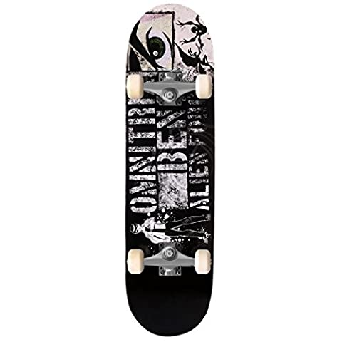 Ancheer 31 Inch Canadian 7-ply Maple Deck Skateboard with Double Kick Tail, Complete Standard Skateboard Cruiser Concave Deck (Black Capital)