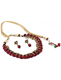 9c2c5b2d3 SIMAYA FASHIONISTA Maroon Beads Fashionable Necklace Set with Top Earrings  for Women(SF925)