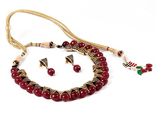 Simaya Fashionista Jewellery Maroon Colour Beads Fashionable Necklace Set With Tops Earrings for Indian Beuties (SF925)