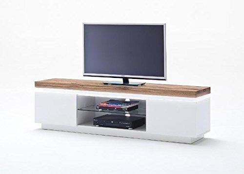 Unbekannt Lowboard Romina MCA Eiche massiv Weiss LED Braun Weiß Holz