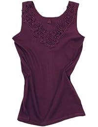 2 Stück Da. Shirt-Top- Unterhemden Gekämmte Baumwolle mit extra großer Spitze Ohne Seitennaht