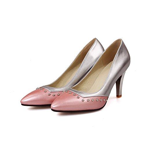 AllhqFashion Femme Pu Cuir Mosaïque Tire Pointu à Talon Haut Chaussures Légeres Rose