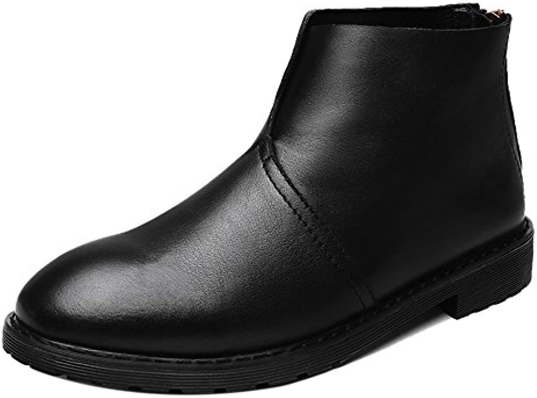 COOLCEPT Herren High Top Zipper Western Boots Buro Schuhe