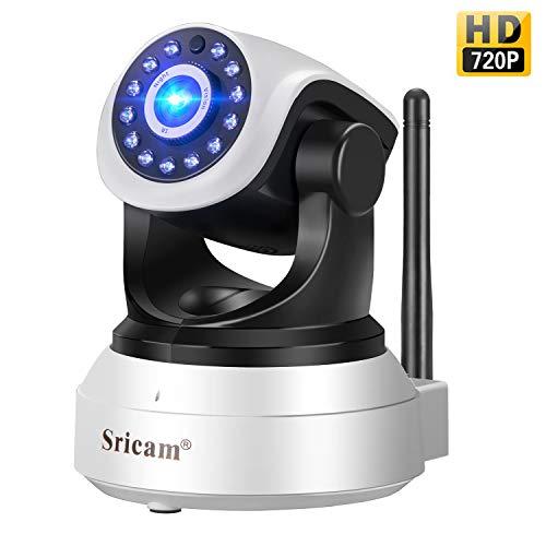 Cámara IP Wifi,Sricam Cámara de Vigilancia Interior HD 720P P2P Pan/Tilt IR Visión Nocturna Detección de Movimiento CCTV Sistema Seguridad para el Hogar/Bebé/Mascotas con Micrófono y Altavoz