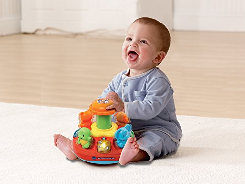 Image of VTech Baby Push and Play Spinning Top Toy - Multi-Coloured