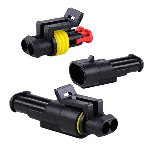 beler 5 Sätze Nylon 12A 2-polig abgedichteter elektrischer Kabelstecker für Motorradmotorräder