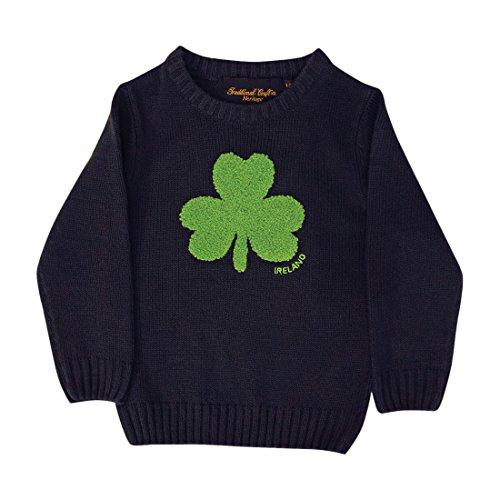 Carrolls Irish Gifts Irland-Pullover für Kinder, mit Rundhalsausschnitt und flauschigem Kleeblatt, Marineblau