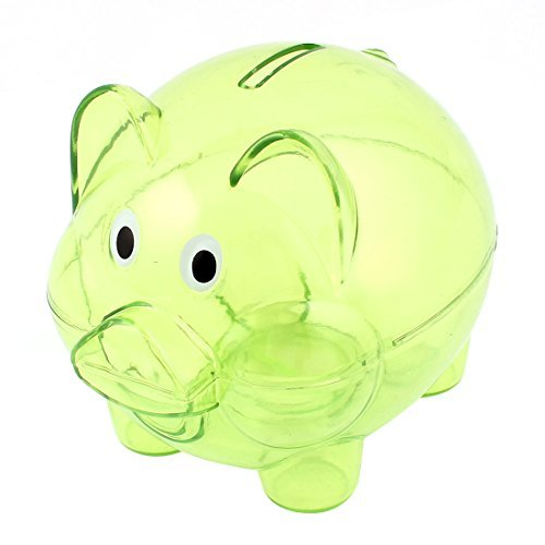 ectible Piggy Bank Coin Savings Money Cash Box Clear Green ()