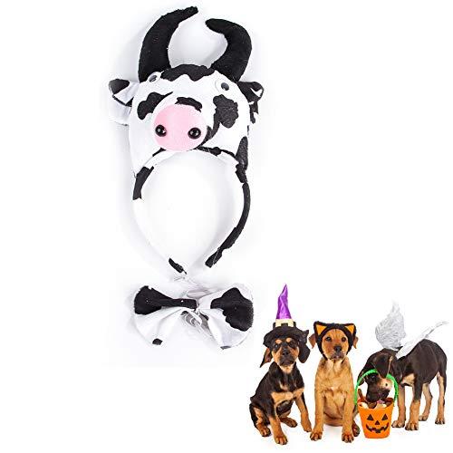 Morbuy Reizende Katzenkostüm Hunde Haustier Kleidung Stirnband Kostüme, Halloween Xmas HundeKostüm Hundebekleidung Kostüme Kleidung Katze lustiges Kleid Cosplay (Kuh)
