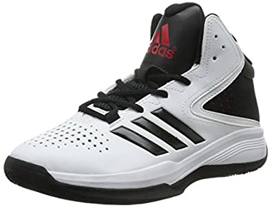 adidas Men's Cross 'Em 4 White, Core Black and Bright Red Basketball Shoes - 11 UK