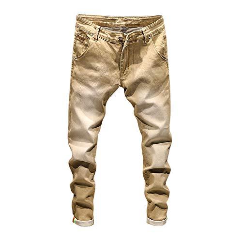 CAOQAO Pantaloncini da Uomo Jeans/Autunno Retro da Uomo Casual Lavato Cintura Hip Hop Pocket Zipper Jeans/Cachi / 28-38