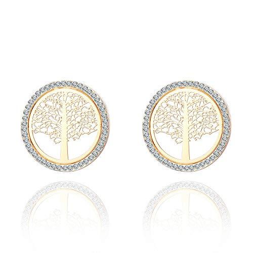 Cwenjing Frauen Ohrringe Exquisite einfache Diamant Leben Baum Ohrringe kreative Hohle runde Ohrringe Frauen (Farbe : Gold Plated) - Die Geld-baum Für Partei